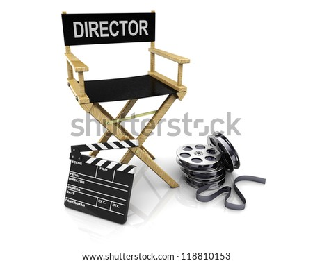 3d illustration of director chair with clapboard and film reels - stock photo
