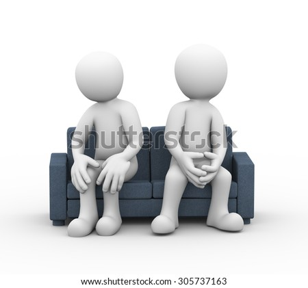 3d illustration of disagree and dispute between husband wife sitting on sofa. family problem, people conflict - stock photo