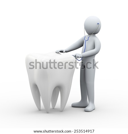 3d illustration of doctor examining a tooth with stethoscope. 3d rendering of man - people character - stock photo