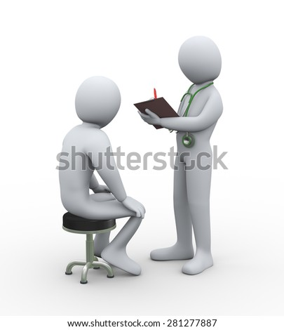 3d illustration of doctor with stethoscope writing patient medical history report. 3d rendering of man - people character - stock photo