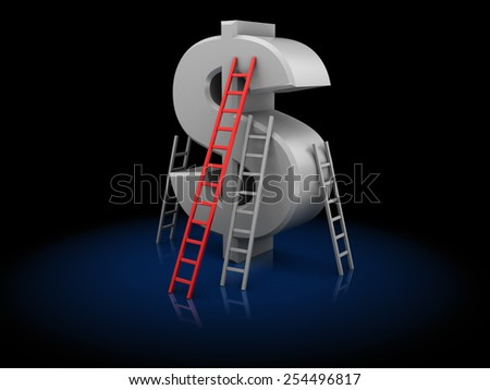 3d illustration of dollar and ladders, business competition concept - stock photo