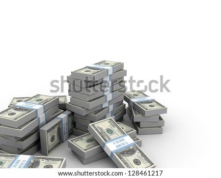 3d illustration of dollar banknotes over white background - stock photo