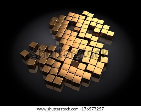 3d illustration of dollar sign built with golden blocks, over black background - stock photo