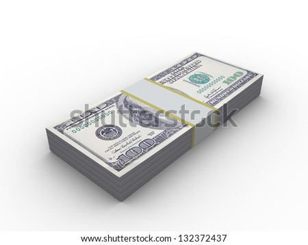 3d illustration of 10000 dollars stack, over white background - stock photo