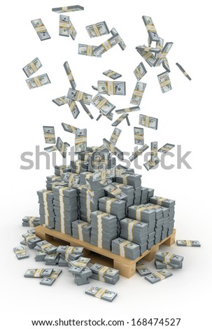 3d illustration of dollars stack over white background - stock photo