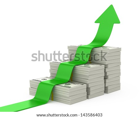 3d illustration of dollars stairway and upward arrow, over white background - stock photo