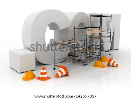 3d illustration of domain name dot com under constructions - stock photo