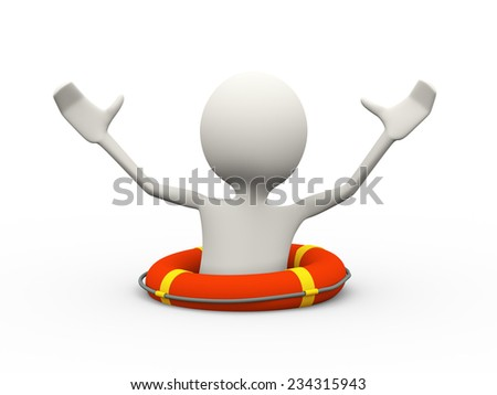 3d illustration of drowning man in the life preserver lifebuoy ring calling for help. 3d human person character and white people - stock photo