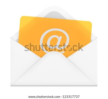 3D illustration of e-mail envelope on white background - stock photo