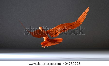 3d illustration of Eagle flying in the white room - stock photo