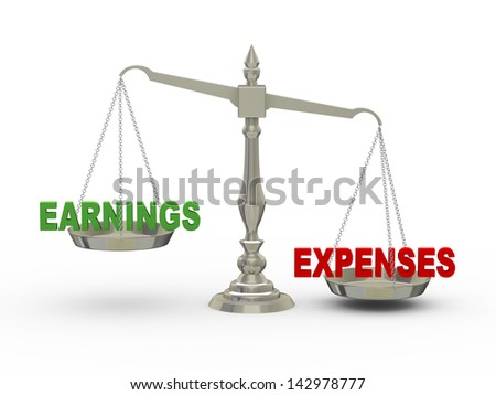 3d illustration of earnings and expenses on scale.   - stock photo