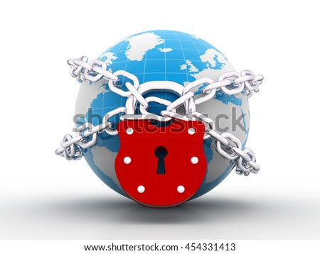 3d illustration of earth globe with chain and lock - stock photo