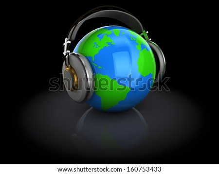 3d illustration of earth globe with headphones, over dark background  - stock photo