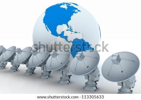 3d illustration of earth globe with radio aerials - stock photo