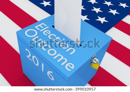 3D illustration of Election Outcome, 2016 scripts on ballot box, with US flag as a background. Election Concept. - stock photo
