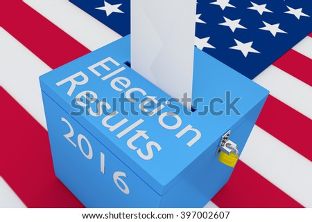 3D illustration of Election Results, 2016 scripts on ballot box, with US flag as a background. Election Concept. - stock photo
