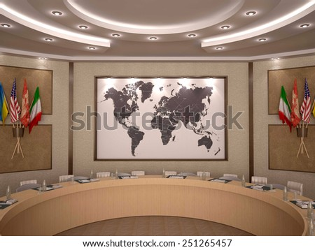 3d illustration of Empty business conference room interior - stock photo
