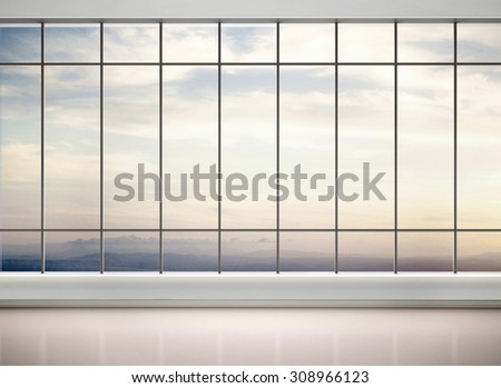 3d illustration of empty office with large windows - stock photo
