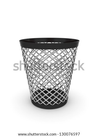 3d illustration of empty trash bin. Isolated on white background - stock photo