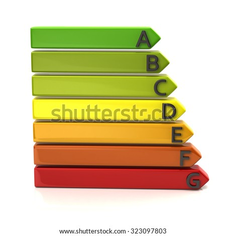 3d illustration of energy rating  graph - stock photo