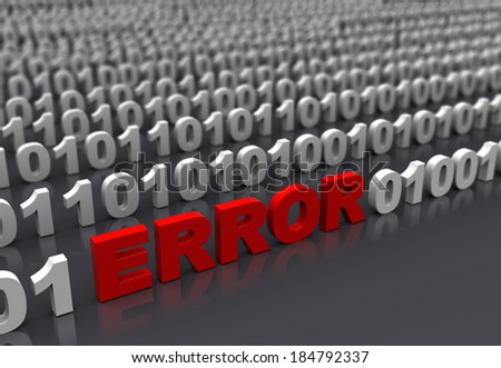 3d illustration of error in binary code - stock photo