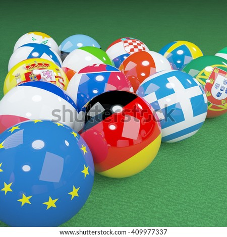 3D illustration of eu flags on the pool table 3 - stock photo
