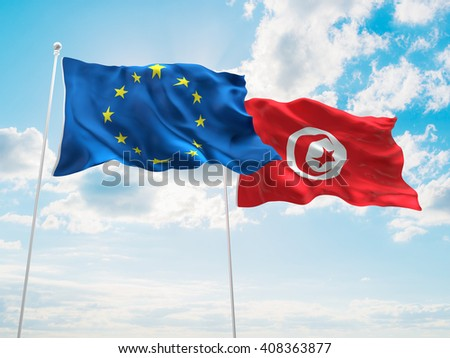 3D illustration of Europe Union & Tunisia Flags are waving in the sky - stock photo