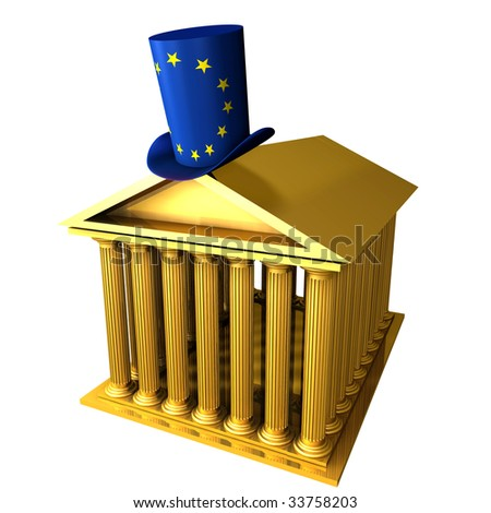 3d illustration of european top hat standing over stocks exchange building - stock photo