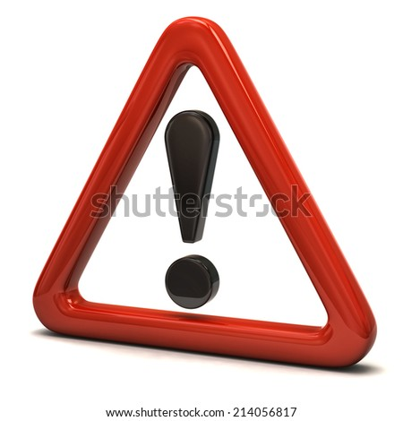 3d illustration of exclamation sign in red triangle - stock photo