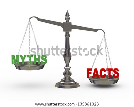 3d illustration of facts and myth on scale. - stock photo