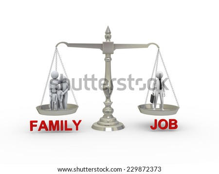 3d illustration of family members and working businessman on scale. Concept of balance between work, job,  life and family. 3d rendering of people - human character - stock photo