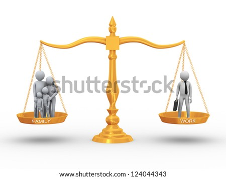 3d illustration of family members and working man on golden scale. Concept of balance between work, life and family. 3d rendering of people - human character. - stock photo