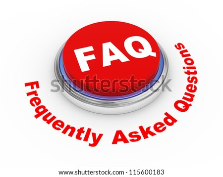 3d illustration of faq (frequently asked questions) button - stock photo