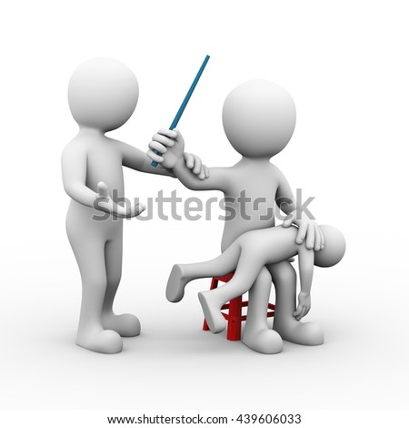 3d illustration of father beating his kid with stick and wife stopping him by holding his hand.  - stock photo