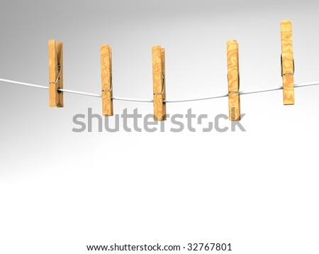 3D illustration of five  clothespins on a white clothesline - stock photo