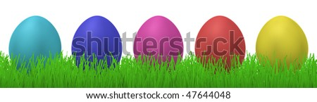 3d illustration of five colorful easter eggs in a row in grass - stock photo