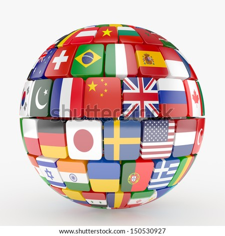 3d illustration of flags collection sphere - stock photo