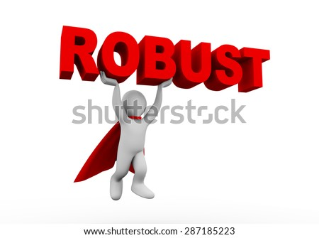 3d illustration of flying brave super hero with red cloak carrying word text robust. 3d rendering of white man person people character - stock photo