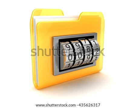 3d illustration of folder icon with code dial - stock photo