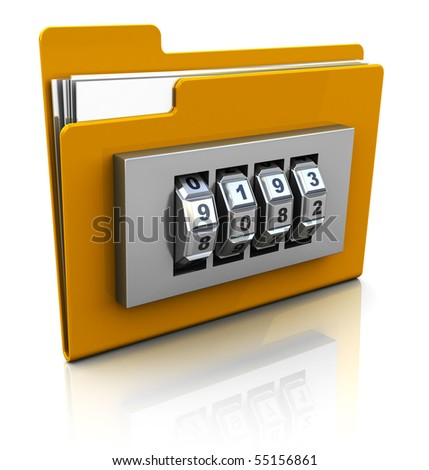 3d illustration of folder icon with security lock dial - stock photo