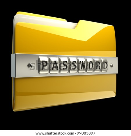 3d illustration of folder icon with security password isolated on black background High resolution 3D - stock photo