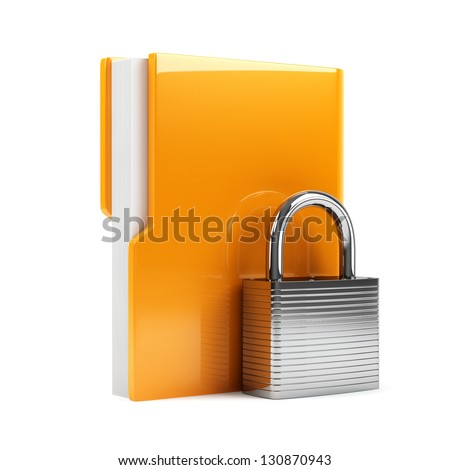 3d illustration of folder with padlock. Isolated on white background - stock photo
