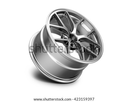 3d illustration of forged car rim isolated on white background - stock photo