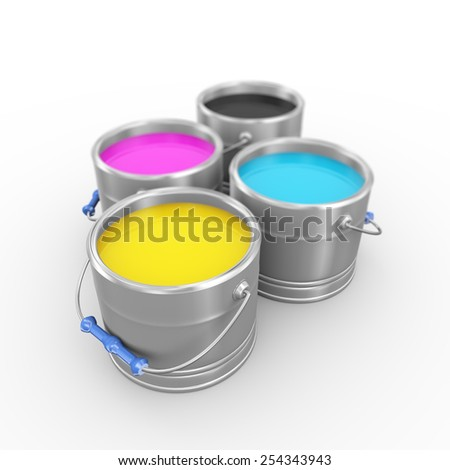 3d illustration of four printing color cmyk cyan, magenta, yellow, and key(black) paint bucket cans. - stock photo