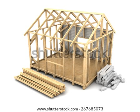 3d illustration of frame house construction with white bricks - stock photo