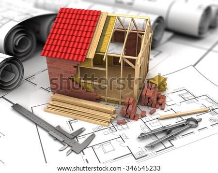 3d illustration of frame house model and blueprints - stock photo