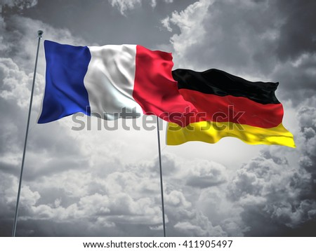 3D illustration of France & Germany Flags are waving in the sky with dark clouds  - stock photo
