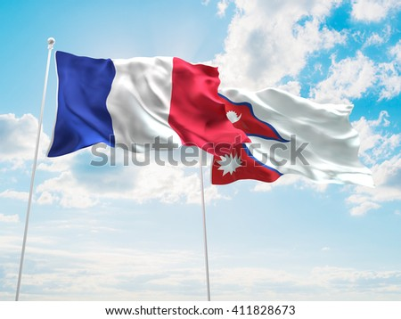 3D illustration of France & Nepal Flags are waving in the sky - stock photo