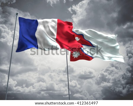 3D illustration of France & Nepal Flags are waving in the sky with dark clouds  - stock photo