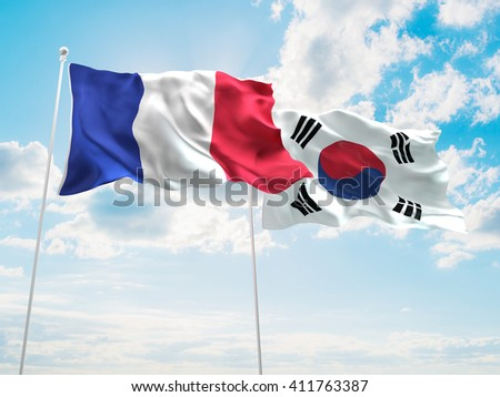 3D illustration of France & South Korea Flags are waving in the sky - stock photo
